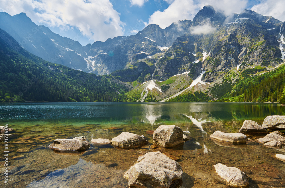 Fototapety, obrazy: Górski staw, Morskie Oko, w tle Rysy, Mountain Lake