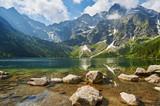 Fototapeta Mountains - Górski staw, Morskie Oko, w tle Rysy, Mountain Lake