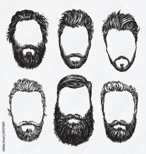 Fotografie, Obraz  Hipster hair and beards, fashion vector illustration set.