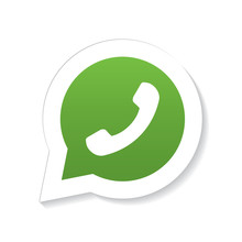 Green Phone Handset In Speech Bubble Icon With Fading Shadow, Isolated On White Background