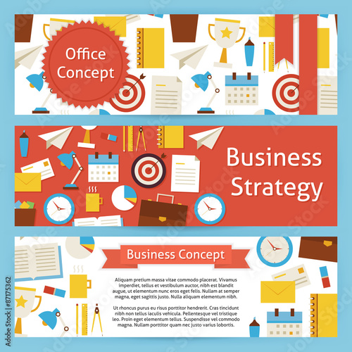 Fototapety, obrazy: Office Concept and Business Strategy Vector Template Banners Set
