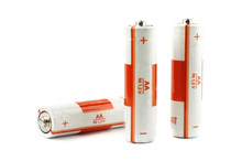 Three Primary AA Batteries Isolated On The White Background
