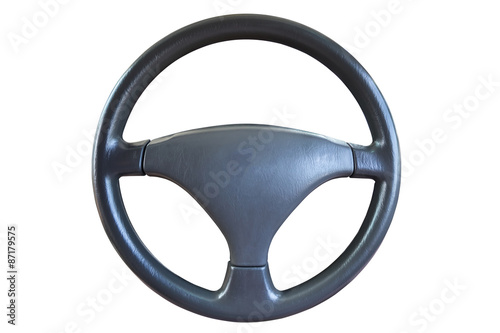Tablou Canvas Steering wheel isolated on white background