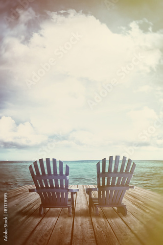 Adirondack chairs on dock with vintage textures and feel Fototapete
