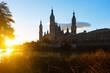 Cathedral from Ebro river in sunny morning. Zaragoza