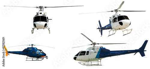 Foto op Canvas Helicopter Set of Helicopters. Isolated on white
