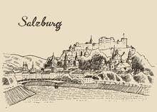 Salzburg Skyline Austria Vinta...
