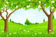 Leinwanddruck Bild - Green Background with Trees