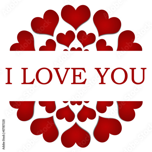 Photo  I Love You Red Hearts Circular Square
