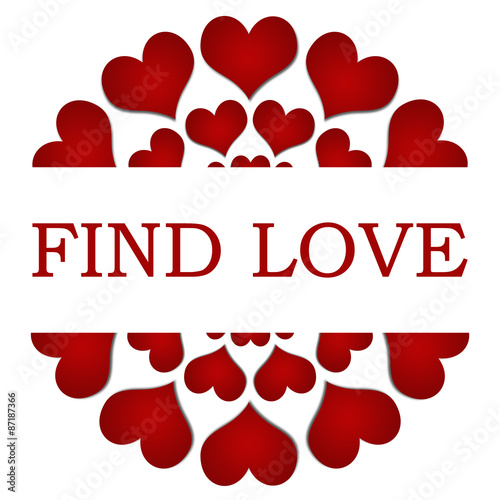 Photo  Find Love Red Hearts Circular Square