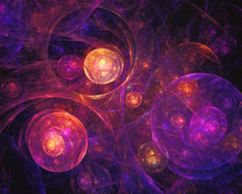 Abstract Space Colorful Background With Bubbles