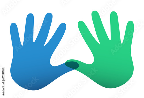 Fotografia, Obraz  Colored vector handprints