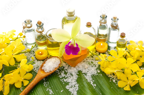 Poster Spa Banana leaf background- Health spa