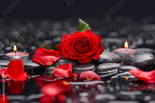 Staande foto Spa Red rose with petals with candle and therapy stones