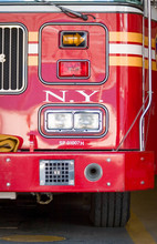 New York City Firetruck. Close Detail View On The Front Of A New York Fire Department Fire Truck.