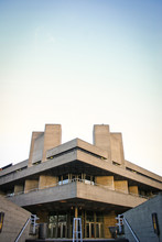 The National Theatre, London. The Façade Of The National Theatre, Part Of London's South Bank Centre, A Classic Example Of Brutalist Architecture.