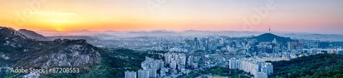 Fotobehang Seoel Seoul Panorama bei Sonnenaufgang