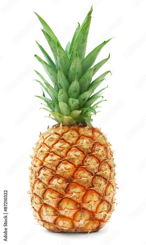 Fototapeta ripe pineapple isolated on white background
