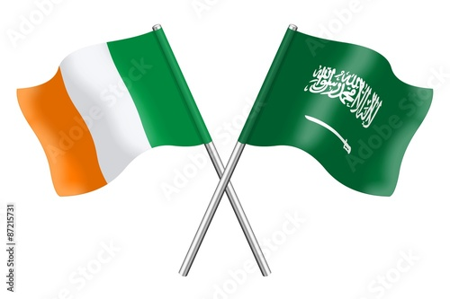 Flags: Ireland and Saudi Arabia Poster