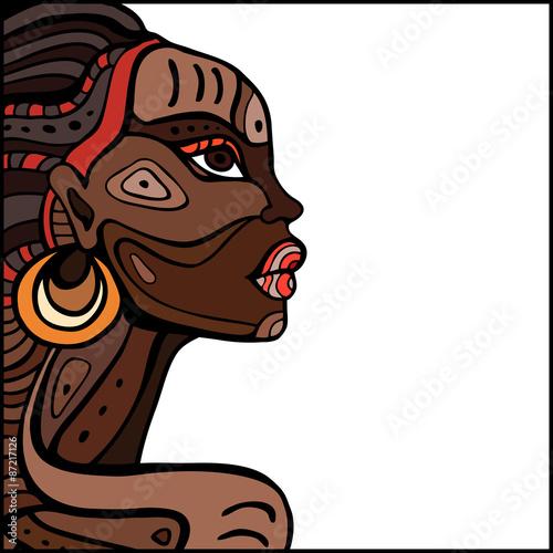 Profile of beautiful African woman. Wallpaper Mural