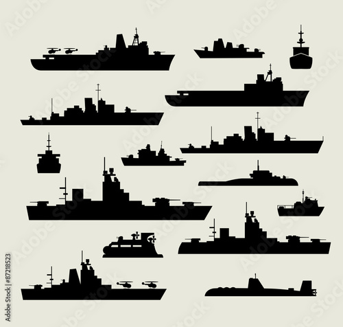 silhouettes of warships Canvas Print