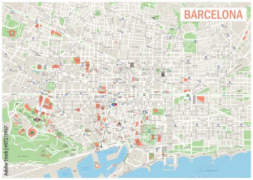 Plakat Mapa Barcelony. Bardzo szczegółowe mapy wektorowe Barcelony. Obejmuje on ulice, parki, nazwy podkategorii, punkty zainteresowania.
