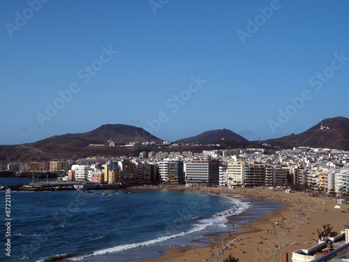 panorama Playa Las Canteras beach in Las Palmas Grand Canary Isl