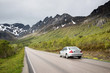 car going to mountains, Lofoten Islands