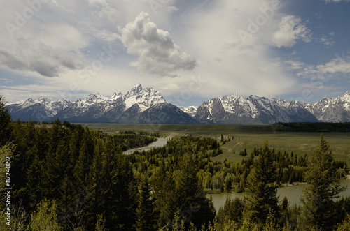 Poster de jardin Parc Naturel Wyoming, Gran Teton National Park, Snake river. Black and white.