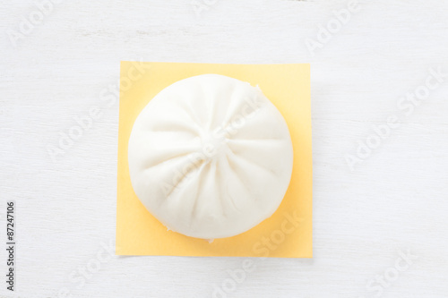 Photo  Traditional chinese cuisine steamed bun  on white background