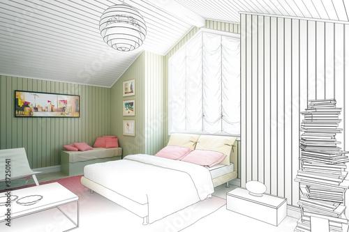 Schlafzimmer-Einrichtung (Zeichnung) - Buy this stock illustration ...