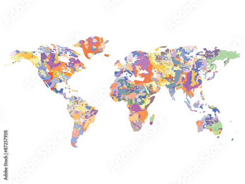 Fotografie, Obraz  Watercolor map of the world, vector illustration
