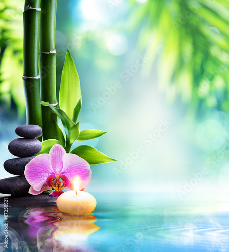 Akustikstoff - spa still life - candle and stone with bamboo in nature on water