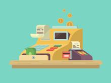 Cash Register In Flat Style