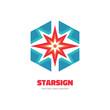 Star sign - vector logo concept illustration. Spark logo. Sun logo. Abstract shape logo. Vector logo template. Design element.