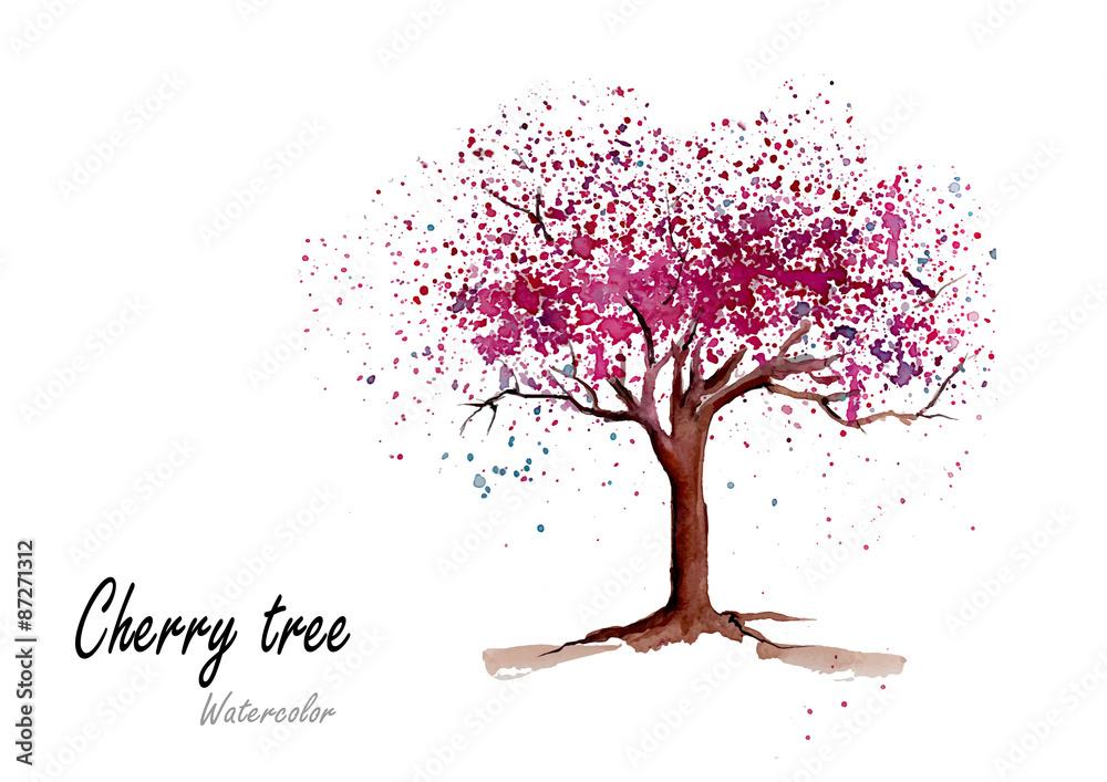 Czereśniowy drzewo Ręka rysujący akwarela obraz na białym tle również zwrócić corel ilustracji wektora