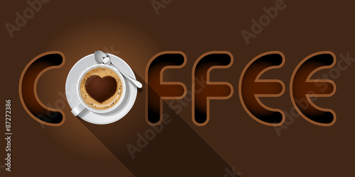 coffee word with Cappuccino cup
