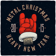 Metal Christmas And Heavy New Year. T-shirt Print With Santa Claus Hand Rock Horn Gesture.