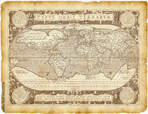 Foto op Canvas Wereldkaart Historical World Map Parchment