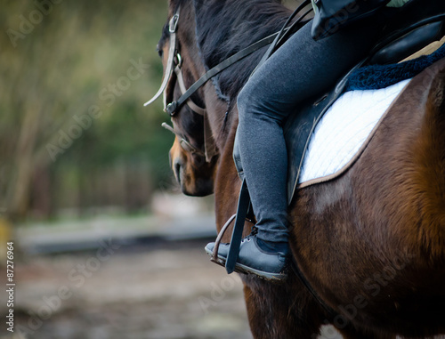 La pose en embrasure Equitation Rider on a horse