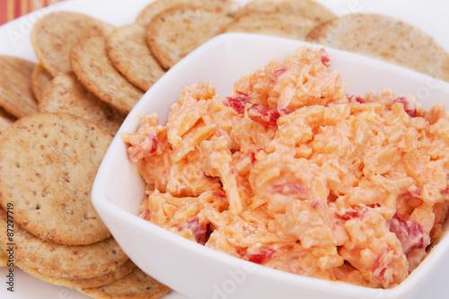 Fotografie, Obraz  Pimiento Cheese Spread and Crackers – A Southern favorite, pimiento cheese spread