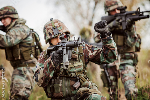 Valokuva  United States Army rangers during the military operation in the
