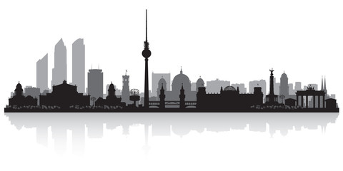 Panel Szklany Berlin Berlin Germany city skyline silhouette