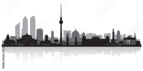 Berlin Germany city skyline silhouette Wallpaper Mural