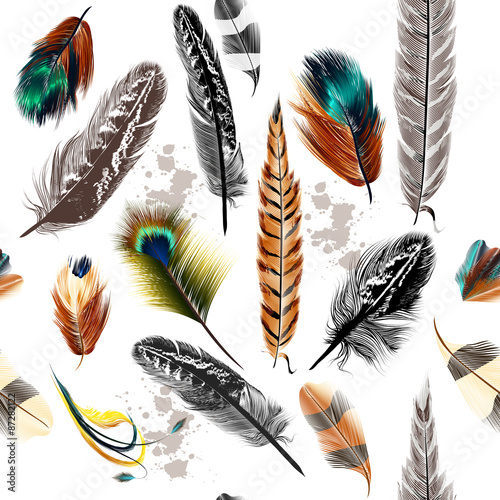 Seamless pattern with colorful and engraved feathers