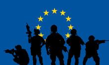 Rangers Team With Rifle On A European Union Flag