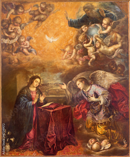 Fotografija  GRANADA, SPAIN - MAY 29, 2015: The baroque paint of Annunication in Iglesia de San Anton by unknown artist
