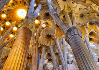 Panel Szklany Ceilings of the Sagrada Familia Cathedral in Barcelona