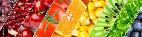 Poster Cuisine Color fruits, berries and vegetables