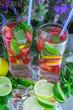 Homemade lemonade. Summer refreshing drink of strawberries, lemo